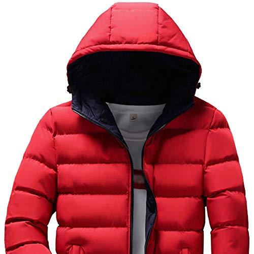 Da Stile Con Rosso Invernale Casual In Caldo Cotone Camicia Unita E Somesun Tinta Cappuccio tuta Uomo Cappuccio aq5wxnY8