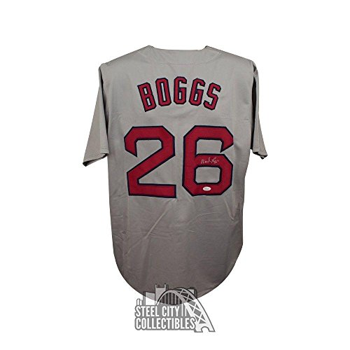 Signed Wade Boggs Jersey - Custom Gray COA - JSA Certified - Autographed MLB Jerseys (Boggs Wade Autographed Jersey)