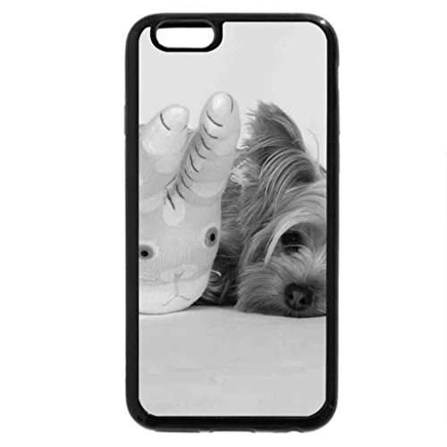 iPhone 6S Case, iPhone 6 Case (Black & White) - DOG WITH TOY