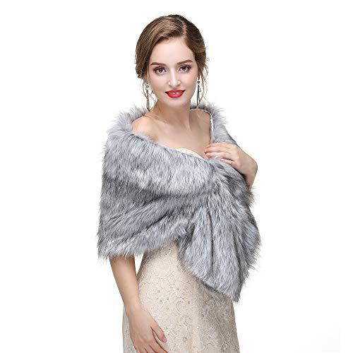 Pour Mariage Fausse couleur Manteau Wraps Pull Cape Châles Robes Mariée C11 Soirée C8 Wenzhihua Châle De Stole Fourrure SxzZ7q