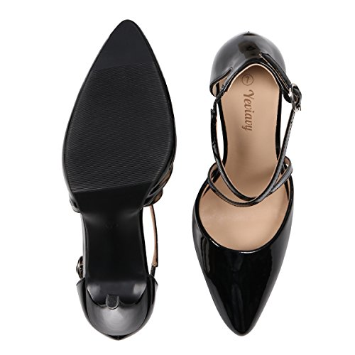 Buckle Women Finona Dress Pointed D'Orsay Black Closure Toe Heels High Yeviavy Stiletto Shoes Pumps Strappy Patent for q6wPxBxtX