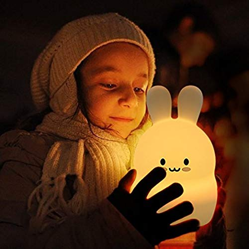 ATOMFIT LED Nursery Night Lights for Kids: Cute Animal Silicone Baby Night Light with Touch Sensor and Remote - Portable and Rechargeable Infant or Toddler Cool Color Changing Bright (Bunny)