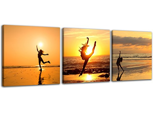 (NAN Wind 3 Pcs Canvas Print Girl Dancing in The Sunset on Beach Wall Art Dancing Water Painting Girl Dance Pictures Print On Canvas for Home Decor Decoration Gift)