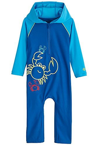 Coolibar UPF 50+ Baby Hooded One-Piece Swimsuit - Sun Protective (18-24 Months- Blue Wave Crab)