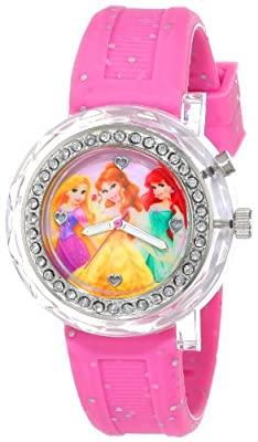 Disney Kids' PN1067 Light-Up Disney Princess Watch with Pink Glitter Band by Accutime Watch Corp.