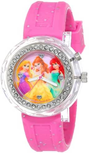 Disney Kids' PN1067 Light-Up Disney Princess Watch with Pink Glitter Band