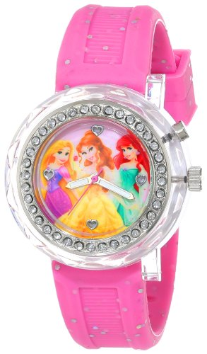 Disney Kids' PN1067 Light-Up Disney Princess Watch with Pink Glitter Band