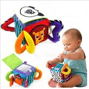 NEW Infant Baby Toddler Kid Panda Cube Peekaboo Mirror Soft Plush Rattle Block Toy