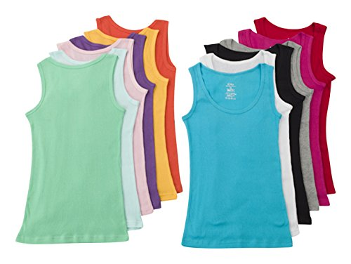 Ribbed Girls Top - Unique Styles Big Girls Juniors Tank Tops 100% Ribbed Cotton Pack of 12 (X-Large, 12 Pack Assorted)