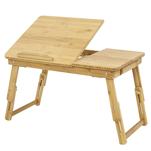 Adjustable Breakfast Serving Bed Tray Tilting Top Drawer ()
