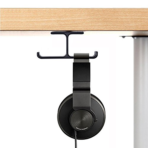 Headset Headphone Mount, 6amLifestyle Aluminum Under desk Dual Headsets Hanger Holder Stand, Stick-On Hooks Universal for All Headphones, Black (Patented)