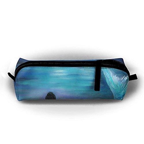 (EWFBVa Durable Zipper Stationery Bag Mermaid, Moon and Stars Painting by Leslie Allen More Big Capacity Pencil Case)