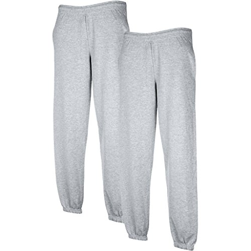 2 pz Fruit of the Loom Set Sweat Pants con fascia elastica grigi XL
