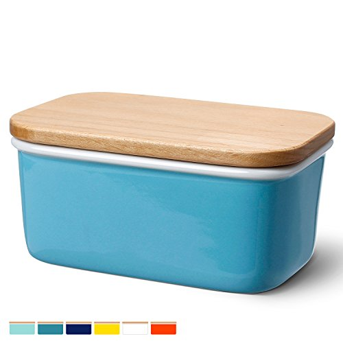 Sweese 3159 Large Butter Dish - Porcelain Keeper With Beech Wooden Lid, Perfect for 2 Sticks of Butter, Steel Blue