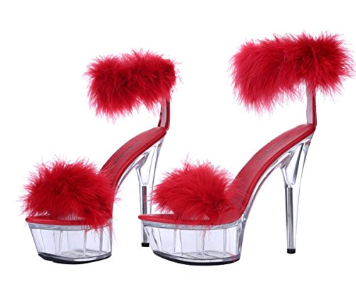SexyPrey Women's Open Toe High Heel Ankle Strap Platform Sandals Clear Shoes Red Fa6we