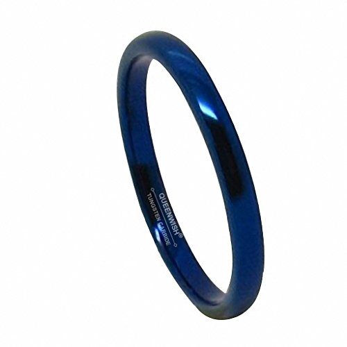 - Queenwish 2mm Blue Tungsten Carbide Polished Traditional Engagement Wedding Rings Band Comfort Fit Size 8.5