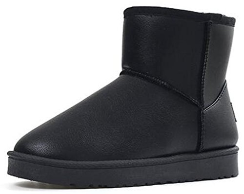 Booties Flat Warm Lined Fleece High On Boots IDIFU Womens Snow Thick Black Solid Ankle Pull Winter w6BW1q8