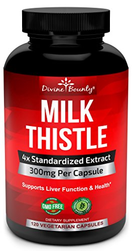 Pure Milk Thistle Capsules - A Potent 1200mg Milk Thistle Supplement with 4X Concentrated Extract (Standardized) 120 Vegetarian Capsules (Milk Freeze Packs compare prices)