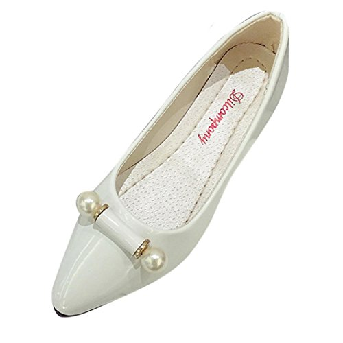 vovotrade blanco Moda Ladie Casual Shoes Mujer embarazada Perlas Breathable plana zapato