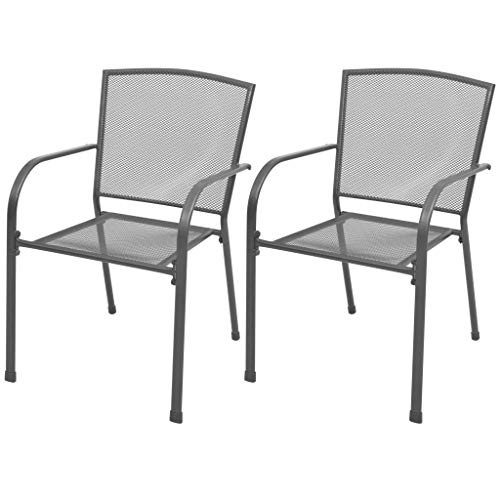 Festnight Set of 2 Stackable Chairs Side Chairs with Armrest Steel Frame Garden Chair Patio Garden Backyard Balcony Kitchen Bistro Cafe Outdoor Indoor Furniture Gray 21.7