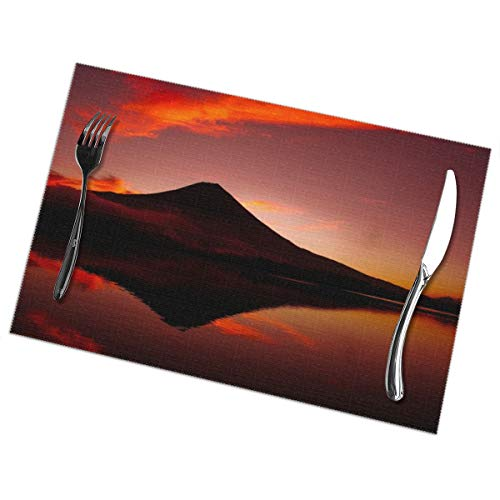 Coaster Air 2 Jacket - Cozystore Placemats Set of 6, Mount Fuji Table Mats Washable Placemats for Dining Table Wipe Clean, Non-Slip Heat Resistant Kitchen Table Mats Easy to Clean, 12