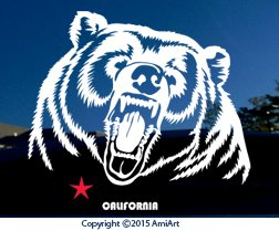 (California GRIZZLY BEAR Decal Sticker - X LARGE 9.5
