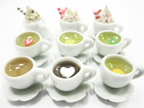 DollHouse Miniature Beverage Mixed 9 Sets Chocolate Coffee