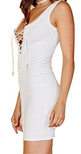 Mini Pizzo Bianco Cromoncent Bodycon Backless Solido Occhiello Abito Increspato Womens Otwxz0Oq