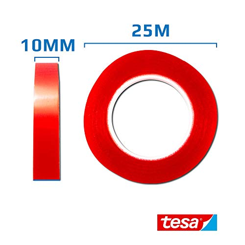 #4965 Tesa Tape Double Sided Red Tape (10mm W x 25m L) ()