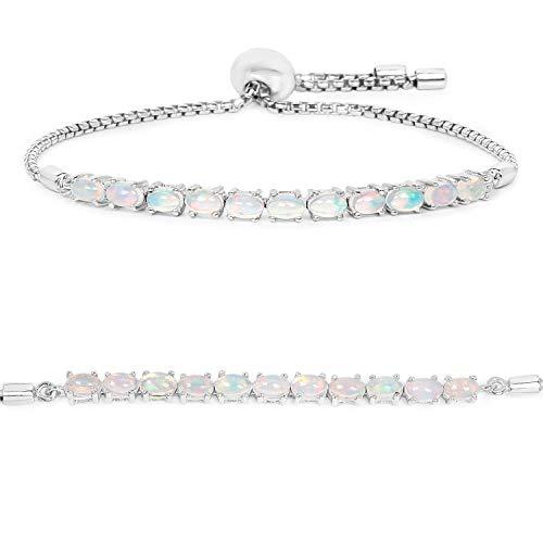 Bonyak Jewelry Genuine Oval Ethiopian Welo Opal Bracelet in Sterling Silver