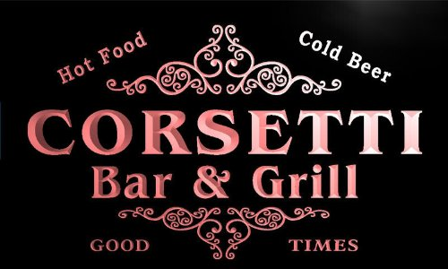 u09140-r CORSETTI Family Name Bar & Grill Cold Beer Neon Light Sign