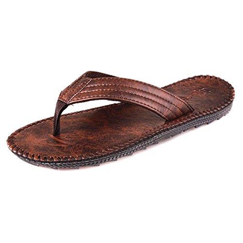 Mens Été Tongs Chaussures Sandales Pantoufles De Plage Mâle Tongs 1283-marron