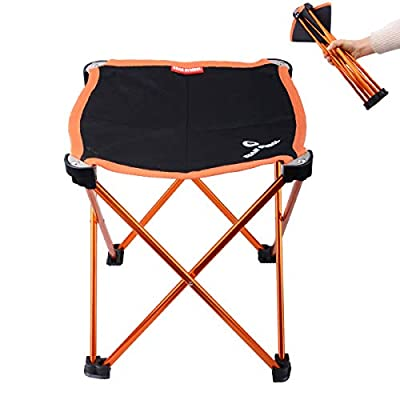 Azarxis Folding Camping Stool, Portable Chair Slacker Seat for Camping Fishing Hiking Travel Backpacking Beach Garden BBQ with Carry Bag (Orange) : Sports & Outdoors