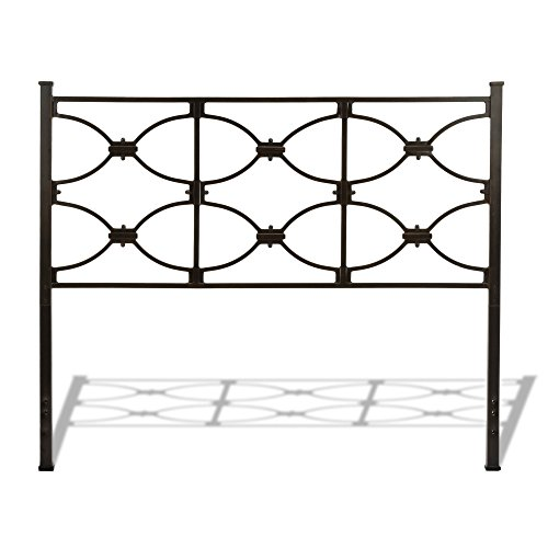 Marlo Metal Headboard Panel with Squared Finial Posts, Burnished Black Finish, Full (Wesley Bed Set Allen)