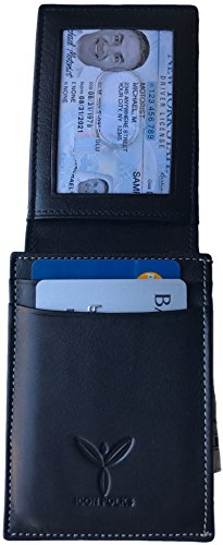 Slim Men's Front Pocket Hand made Genuine Leather RFID Secure Wallet - Black