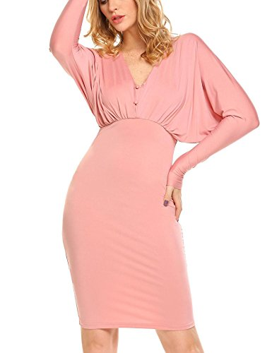 Pink Sleeve Draped Bulges Stretchy Work Women Bodycon Dress Long Hip Neck Package Button V Back Down V UqaAUPx1f