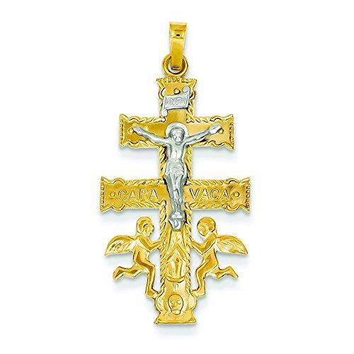 14 carats Bicolore Cara-Patte-Pendentif Religion Croix-Dimensions :  29 x 17 mm-JewelryWeb