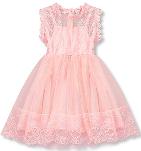 NNJXD Flower Girl's Wedding Dress Lace Sleeveless Tulle Summer Vintage Dresses Size (90) 1-2 Years Pink ()