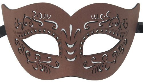Brown Masquerade Masks (RedSkyTrader Mens Bonded Leather Venetian Mask One Size Fits Most Brown)