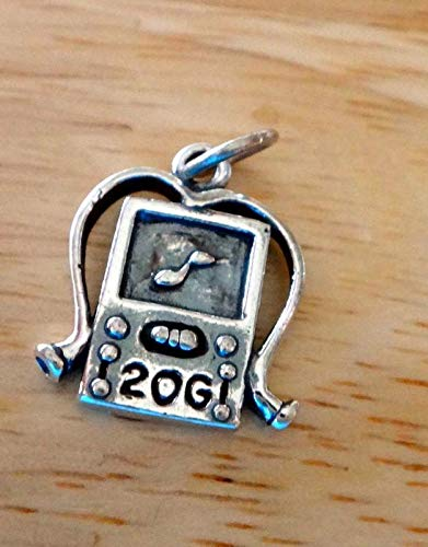 5x13mm MP3 Music Player with Headphones says 20GB Charm Vintage Crafting Pendant Jewelry Making Supplies - DIY for Necklace Bracelet Accessories by CharmingSS ()