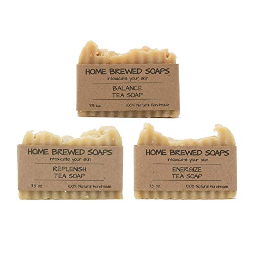 Tea Soap Bar, Zero Waste Soap, Soap Gift Set, 3 Pack - Natural Soaps for Women - Replenish, Balance, Energize - 3.5 oz - Home Brewed Soaps