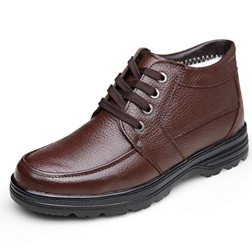 (GanQuan2018 Men's Casual Boot Slip On Warm Comfortable Winter Black Brown Work Boots)