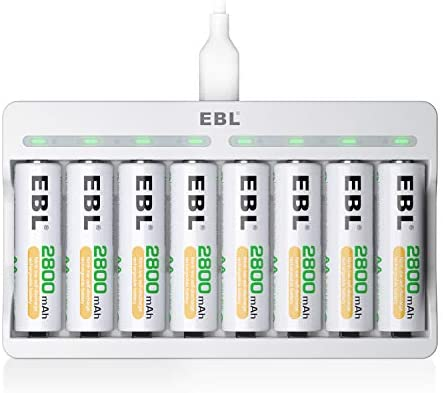 EBL Rechargeable AA Batteries 2800mAh 8 Pack and 8-Bay AA AAA Individual Rechargeable Battery Charger with 5V 2A USB Fast Charging Function