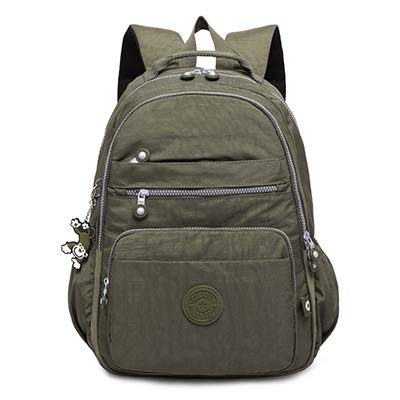 Army green 33CMX16CMX47CM 1376 LFSHUB Male Backpack School for Teenage Travel Back Pack Women School Bag Nylon Unisex 15.6 inch Laptop Bags