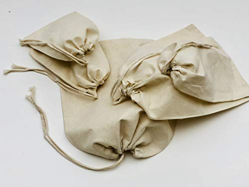 Cotton Muslin Bags, 100% Organic Cotton Single Drawstring Premium Quality Eco Friendly Natural Reusable Bags. Pack of 100. (8x10 Inches)