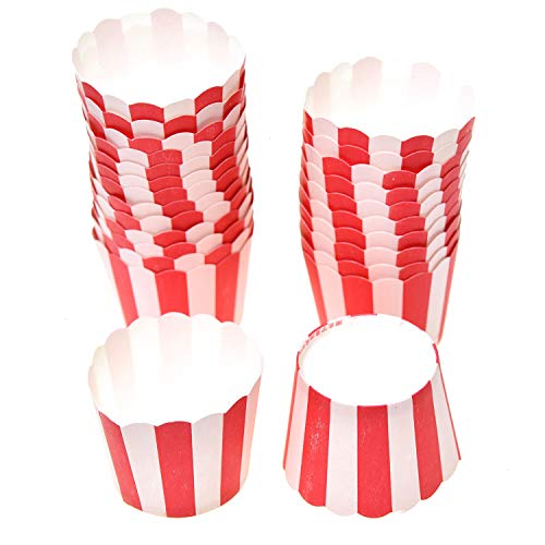 (Monrocco 25 Pack Medium Size Paper Baking Cups with Red Stripe, Greaseproof Cupcake Liners No Muffin Pan Needed Cupcakes Papers,Disposable and Oven-Safe)