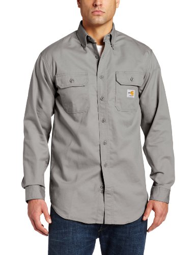 - Carhartt Men's Big & Tall Flame Resistant Classic Twill Shirt,Gray,XXXX-Large