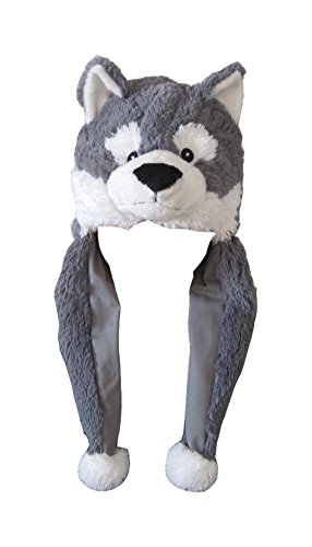 ZooPurr Pets Unisex Plush Animal Hats with Poms - Warm, Soft, and Cozy (Husky)