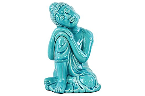Buddha Ceramic Head Statue (Urban Trends Ceramic Sitting Buddha with Rounded Ushnisha and Resting Head on Knee Figurine LG Gloss Finish Blue, Blue/White)
