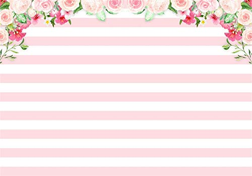 Tea Photo - AOFOTO 6x4ft Pink Flowers Banner Rose Pink and White Striped Backdrop Kids Adults Happy Birthday Girl Tea Party Decoration Baby Shower Background for Photography Photo Studio Props Vinyl Wallpaper